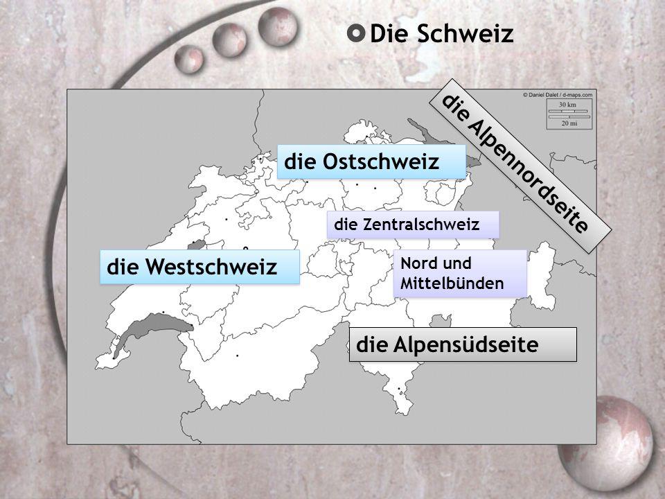  Regionen Nord und Mittelbünden in den Bergen im Flachland / in den Niederungen am Ozean / am Meer