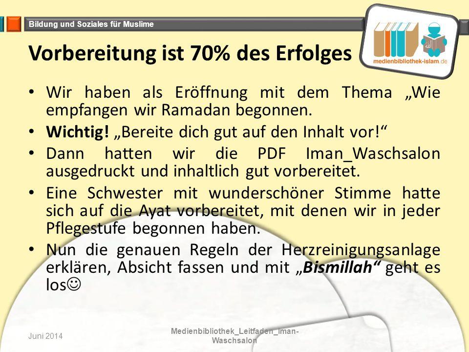 Bildung und Soziales für Muslime Juni 2014 Medienbibliothek_Leitfaden_Iman- Waschsalon In der letzten Pflegestufe ging es darum, neue Ziele zu setzten, deshalb ist der Raum sehr hell gehalten.