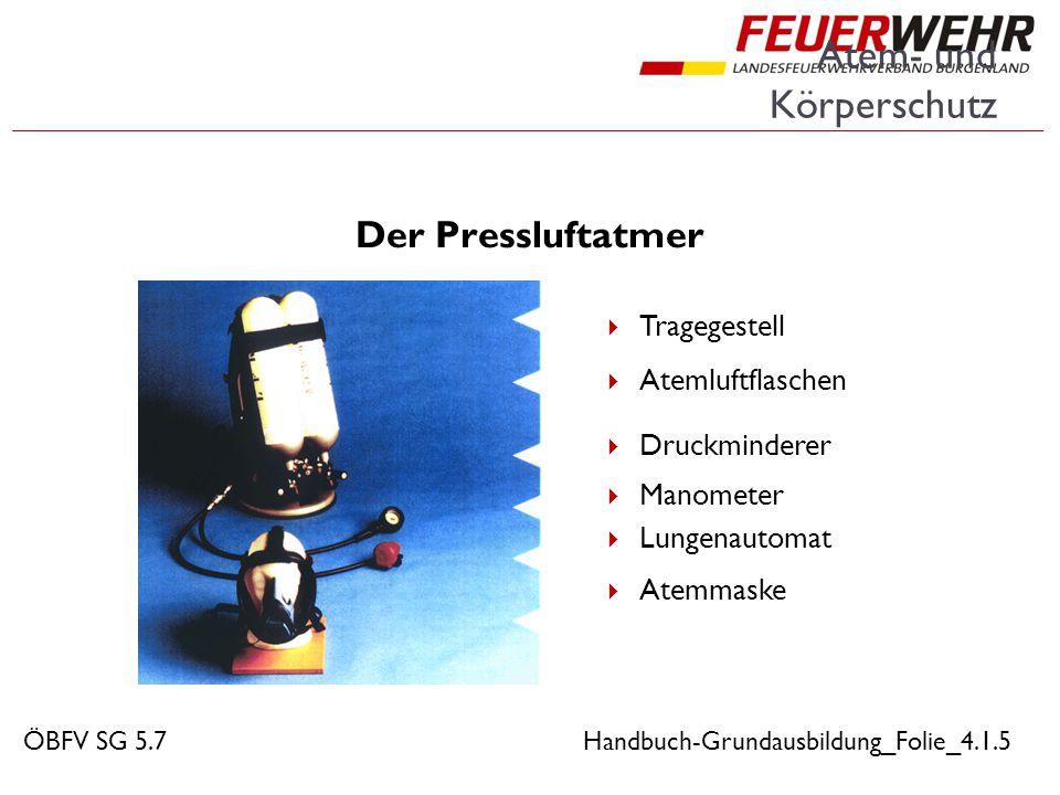 Atem- und Körperschutz Der Pressluftatmer  Tragegestell  Atemluftflaschen  Druckminderer  Manometer  Lungenautomat  Atemmaske ÖBFV SG 5.7Handbuc