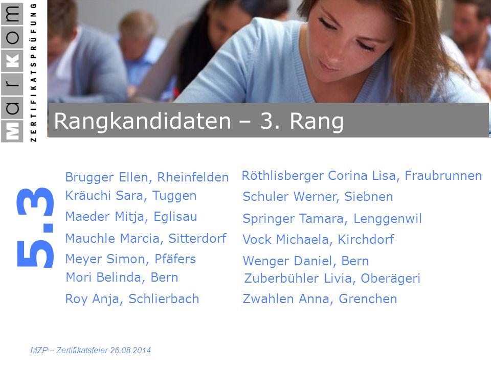 Rangkandidaten – 3. Rang 5.3 MZP – Zertifikatsfeier 26.08.2014 Brugger Ellen, Rheinfelden Kräuchi Sara, Tuggen Maeder Mitja, Eglisau Mauchle Marcia, S