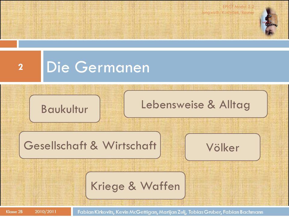 EPICT Modul 3.2 Jungwirth/Kodydek/Rauner Baukultur 3 Klasse 2B 2010/2011 Fabian Kirkovits Das germanische Haus Das germanische Dorf Sonderform: Grubenhaus