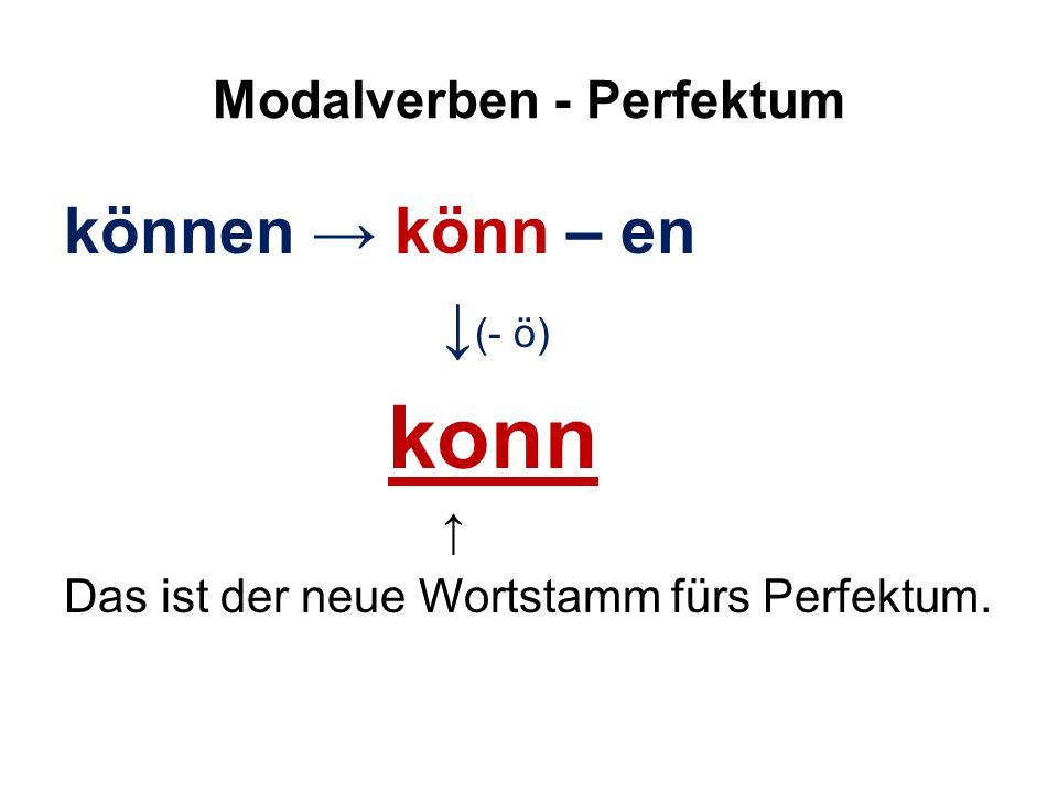 Modalverben - Perfektum können → könn – en ↓ (- ö) konn ↑ Das ist der neue Wortstamm fürs Perfektum.