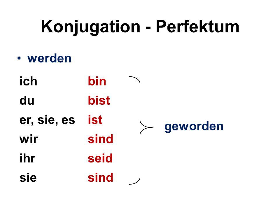 Übungen Schreiben Sie den Satz in der richtigen Reihenfolge im Perfektum.