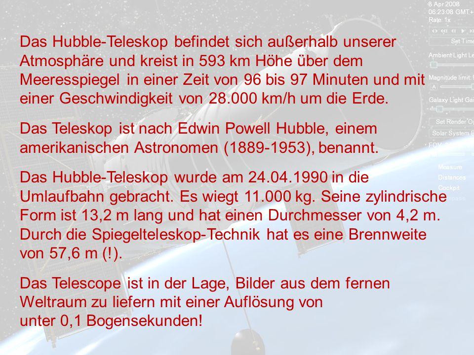 Das Hubble-Teleskop befindet sich außerhalb unserer Atmosphäre und kreist in 593 km Höhe über dem Meeresspiegel in einer Zeit von 96 bis 97 Minuten und mit einer Geschwindigkeit von 28.000 km/h um die Erde.