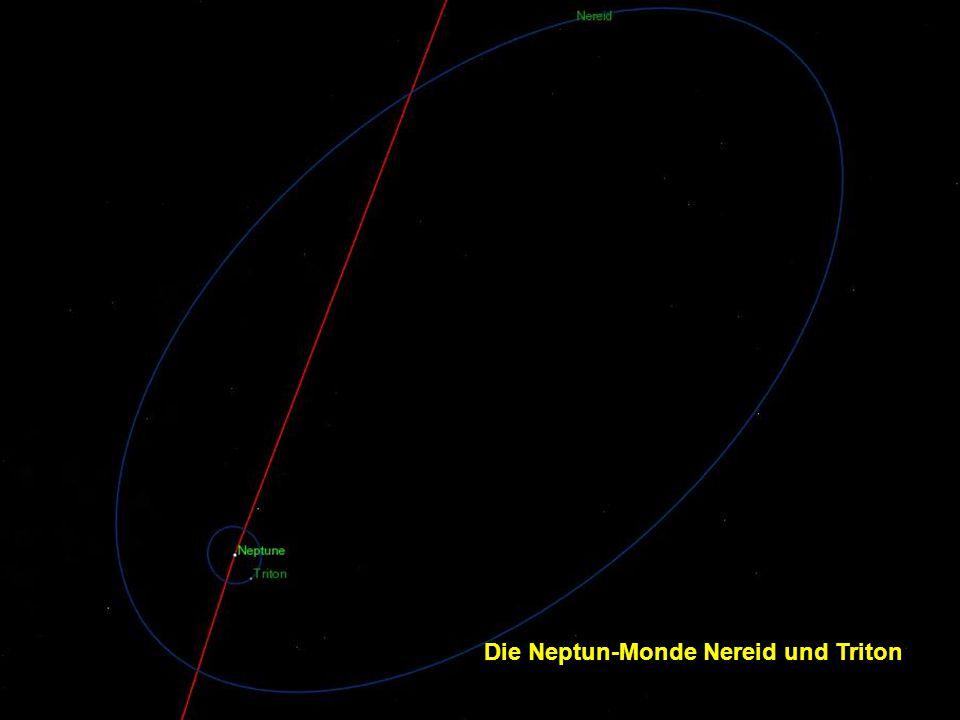 Einige der 13 Monde des Neptuns und ihre Umlaufbahnen