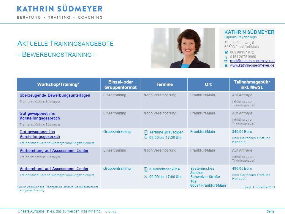 Seite 1 Workshop/Training* Einzel- oder Gruppenformat TermineOrt Teilnahmegebühr inkl.