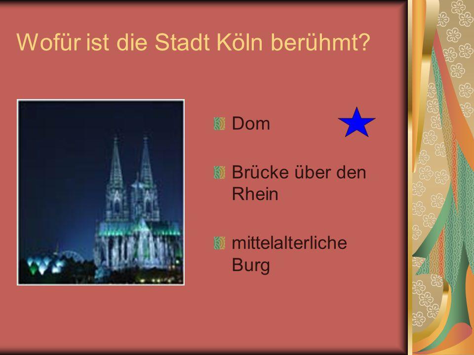 Wofür ist die Stadt Köln berühmt? Dom Brücke über den Rhein mittelalterliche Burg