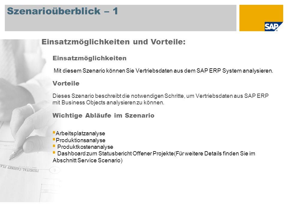 Szenarioüberblick – 1 Einsatzmöglichkeiten Mit diesem Szenario können Sie Vertriebsdaten aus dem SAP ERP System analysieren.