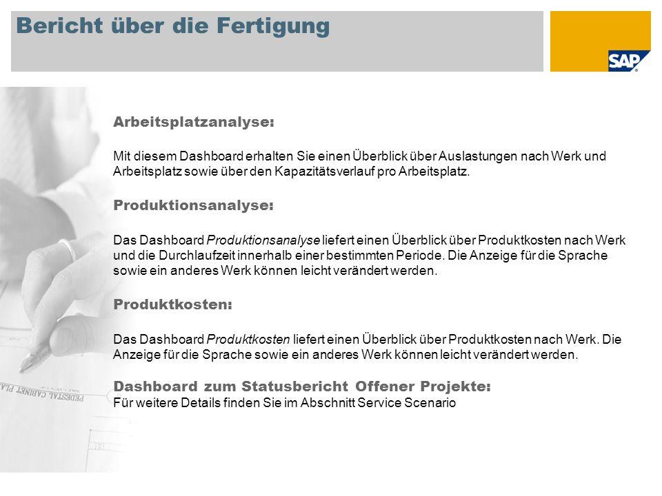 Bericht über die Fertigung Arbeitsplatzanalyse: Mit diesem Dashboard erhalten Sie einen Überblick über Auslastungen nach Werk und Arbeitsplatz sowie über den Kapazitätsverlauf pro Arbeitsplatz.