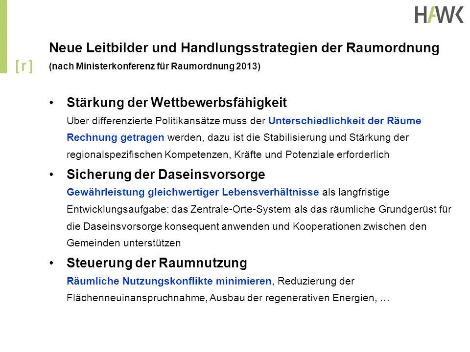 Neue Leitbilder und Handlungsstrategien der Raumordnung (nach Ministerkonferenz für Raumordnung 2013) Stärkung der Wettbewerbsfähigkeit Uber differenz