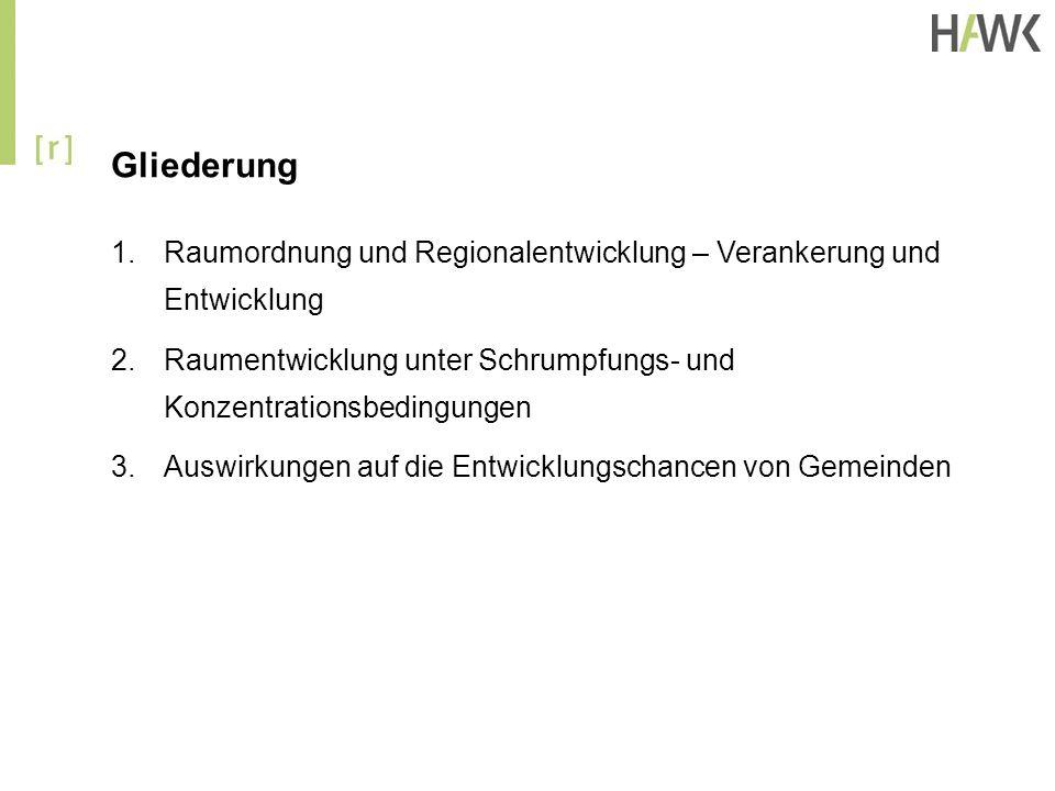 Gliederung 1.Raumordnung und Regionalentwicklung – Verankerung und Entwicklung 2.Raumentwicklung unter Schrumpfungs- und Konzentrationsbedingungen 3.A