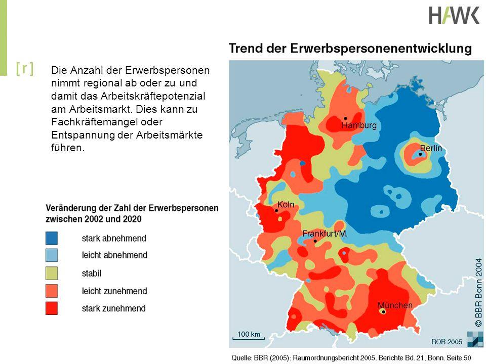 Die Anzahl der Erwerbspersonen nimmt regional ab oder zu und damit das Arbeitskräftepotenzial am Arbeitsmarkt. Dies kann zu Fachkräftemangel oder Ents