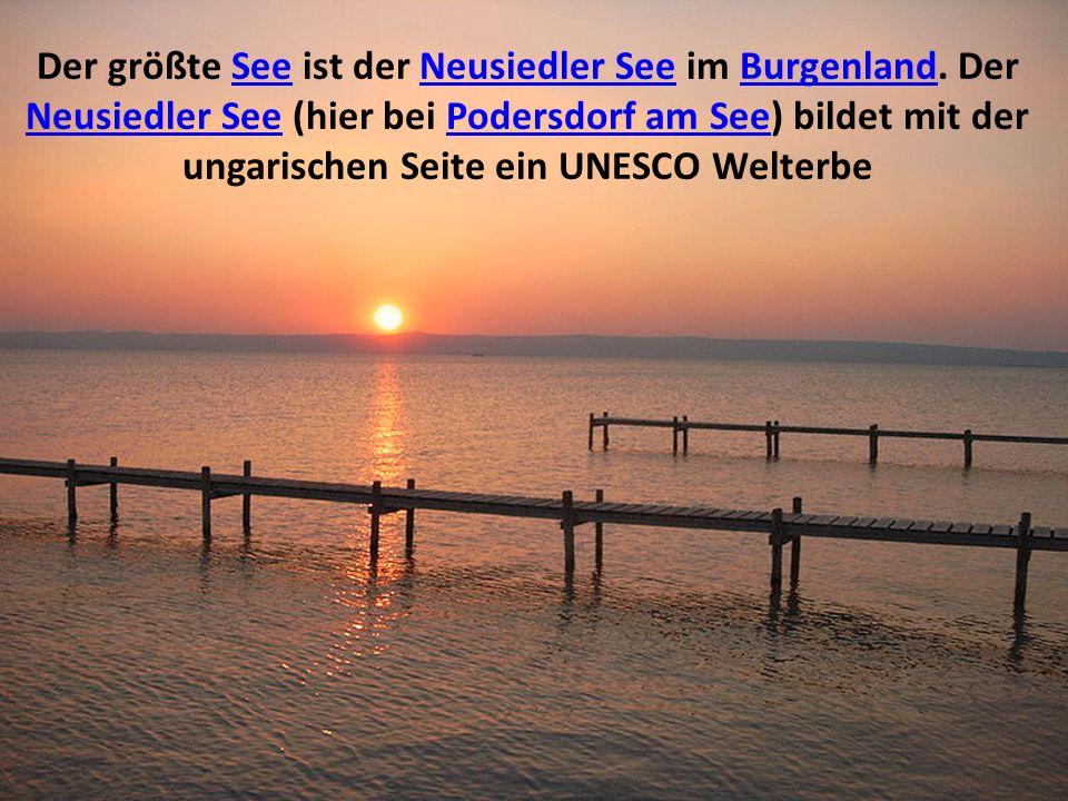 Der größte See ist der Neusiedler See im Burgenland. Der Neusiedler See (hier bei Podersdorf am See) bildet mit der ungarischen Seite ein UNESCO Welte