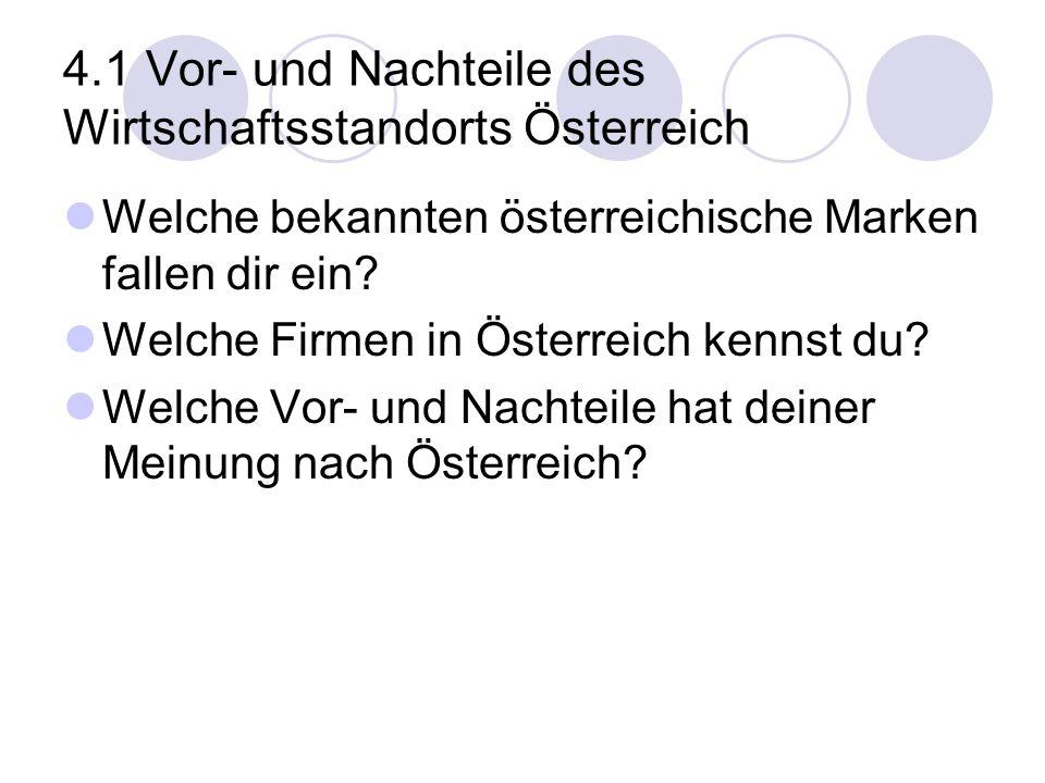 4.1 Vor- und Nachteile des Wirtschaftsstandorts Österreich Welche bekannten österreichische Marken fallen dir ein? Welche Firmen in Österreich kennst