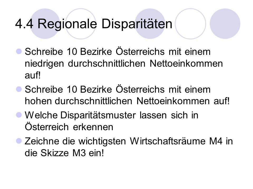 4.4 Regionale Disparitäten Schreibe 10 Bezirke Österreichs mit einem niedrigen durchschnittlichen Nettoeinkommen auf! Schreibe 10 Bezirke Österreichs