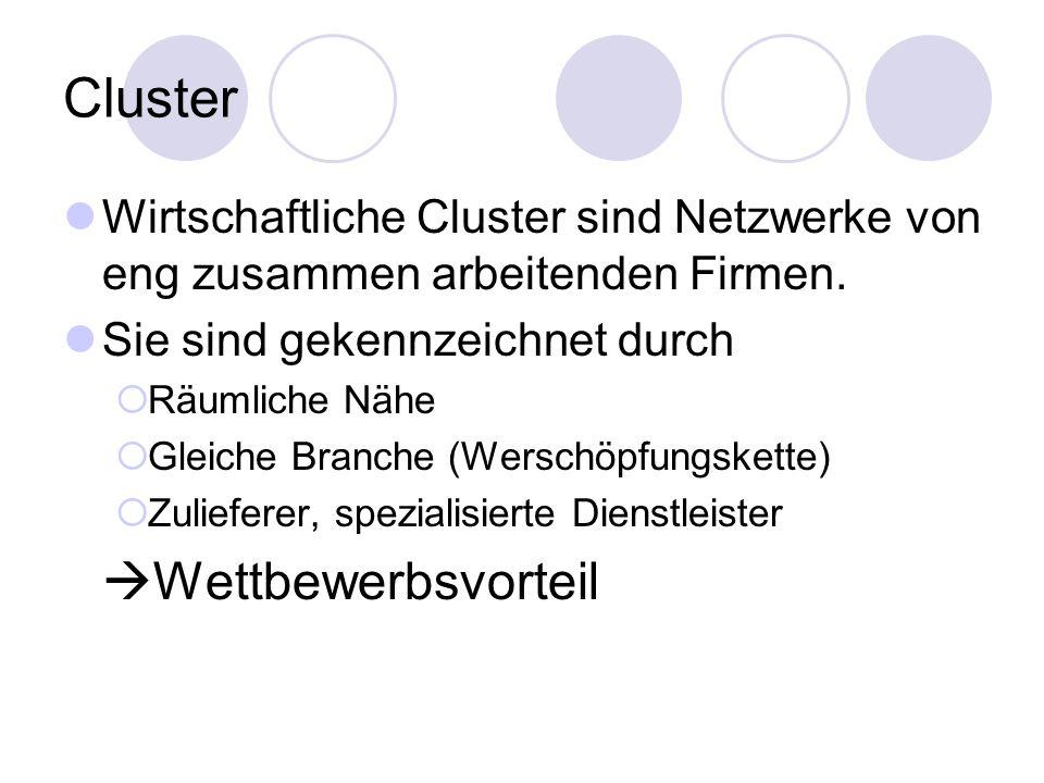 Cluster Wirtschaftliche Cluster sind Netzwerke von eng zusammen arbeitenden Firmen. Sie sind gekennzeichnet durch  Räumliche Nähe  Gleiche Branche (