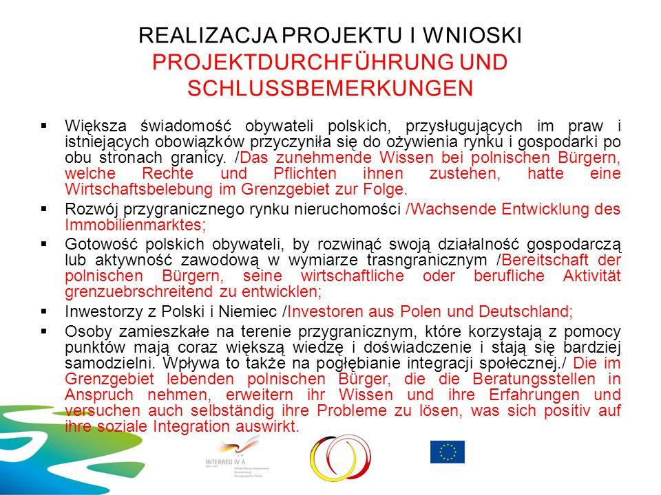 REALIZACJA PROJEKTU I WNIOSKI PROJEKTDURCHFÜHRUNG UND SCHLUSSBEMERKUNGEN  Większa świadomość obywateli polskich, przysługujących im praw i istniejący