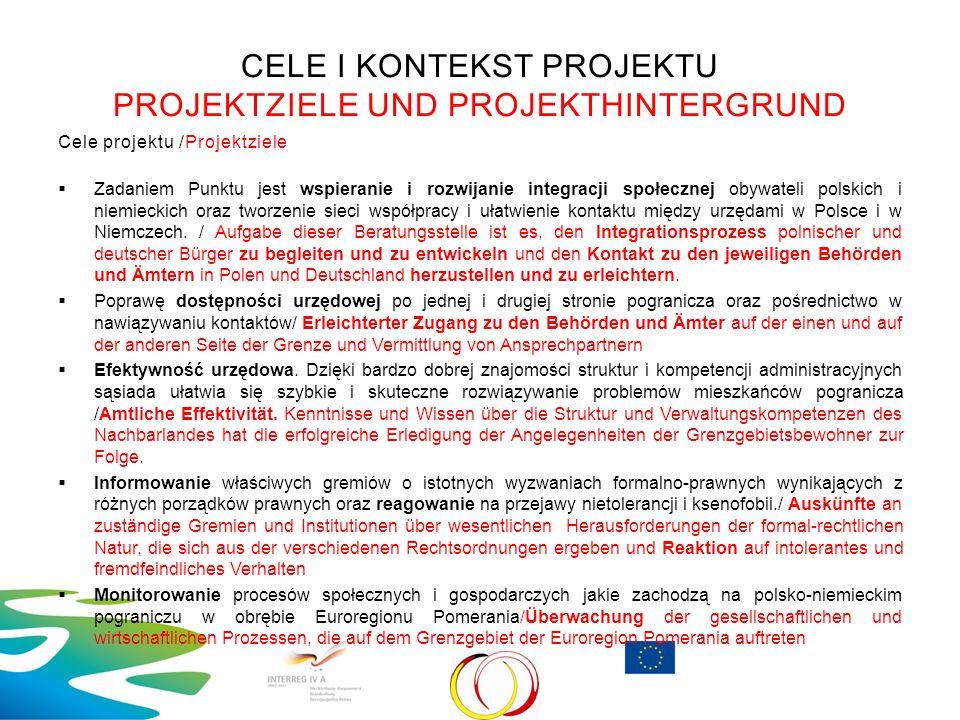 CELE I KONTEKST PROJEKTU PROJEKTZIELE UND PROJEKTHINTERGRUND Cele projektu /Projektziele  Zadaniem Punktu jest wspieranie i rozwijanie integracji spo