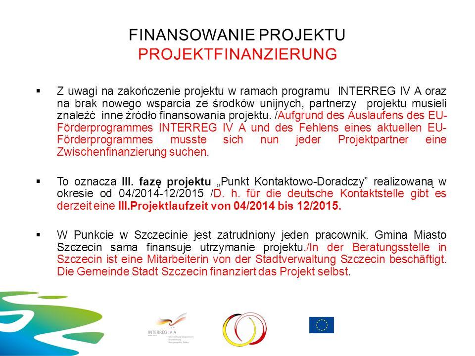 FINANSOWANIE PROJEKTU PROJEKTFINANZIERUNG  Z uwagi na zakończenie projektu w ramach programu INTERREG IV A oraz na brak nowego wsparcia ze środków un