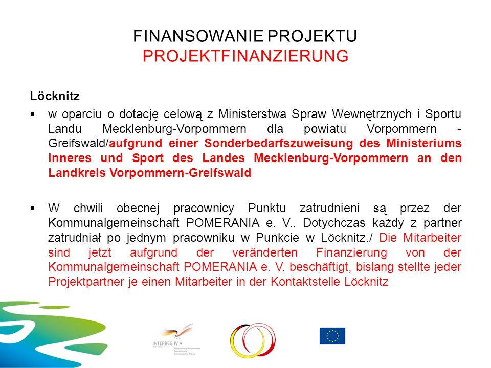 FINANSOWANIE PROJEKTU PROJEKTFINANZIERUNG Löcknitz  w oparciu o dotację celową z Ministerstwa Spraw Wewnętrznych i Sportu Landu Mecklenburg-Vorpommer
