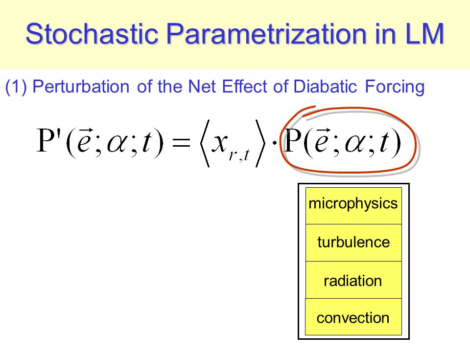 Stochastic Parametrization in LM turbulence radiation microphysics convection (1) Perturbation of the Net Effect of Diabatic Forcing