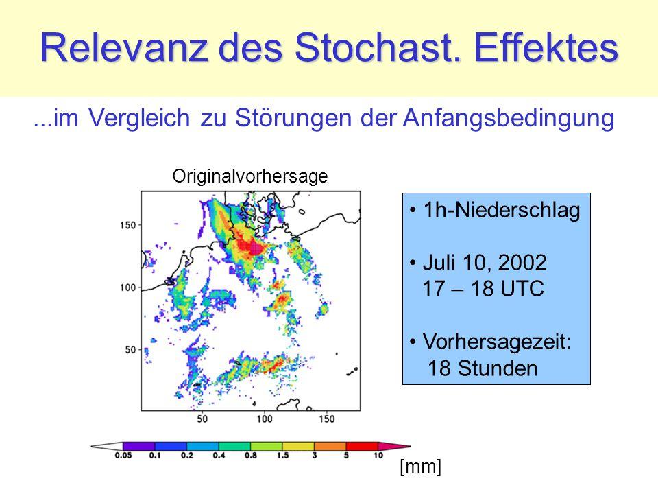 Relevanz des Stochast. Effektes 1h-Niederschlag Juli 10, 2002 17 – 18 UTC Vorhersagezeit: 18 Stunden Originalvorhersage [mm]...im Vergleich zu Störung