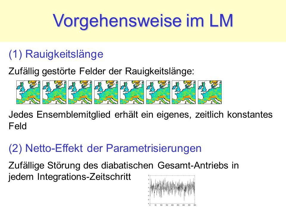(1) Rauigkeitslänge Zufällig gestörte Felder der Rauigkeitslänge: Vorgehensweise im LM (2) Netto-Effekt der Parametrisierungen Zufällige Störung des d