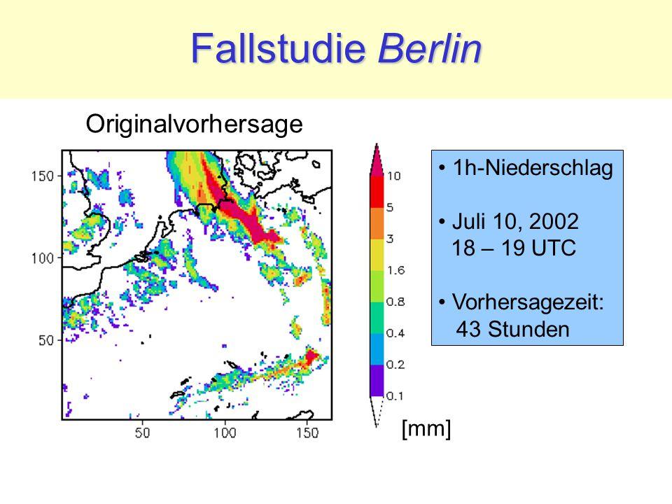 Fallstudie Berlin 1h-Niederschlag Juli 10, 2002 18 – 19 UTC Vorhersagezeit: 43 Stunden [mm] Originalvorhersage