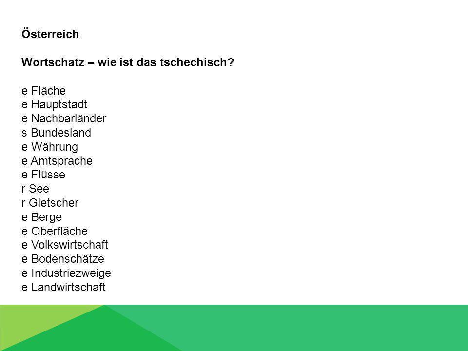 Österreich Wortschatz – wie ist das tschechisch.