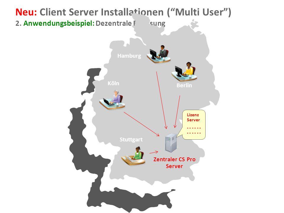 """Document Imaging 19 Neu: Client Server Installationen (""""Multi User"""") 2. Anwendungsbeispiel: Dezentrale Erfassung Zentraler CS Pro Server Hamburg Köln"""