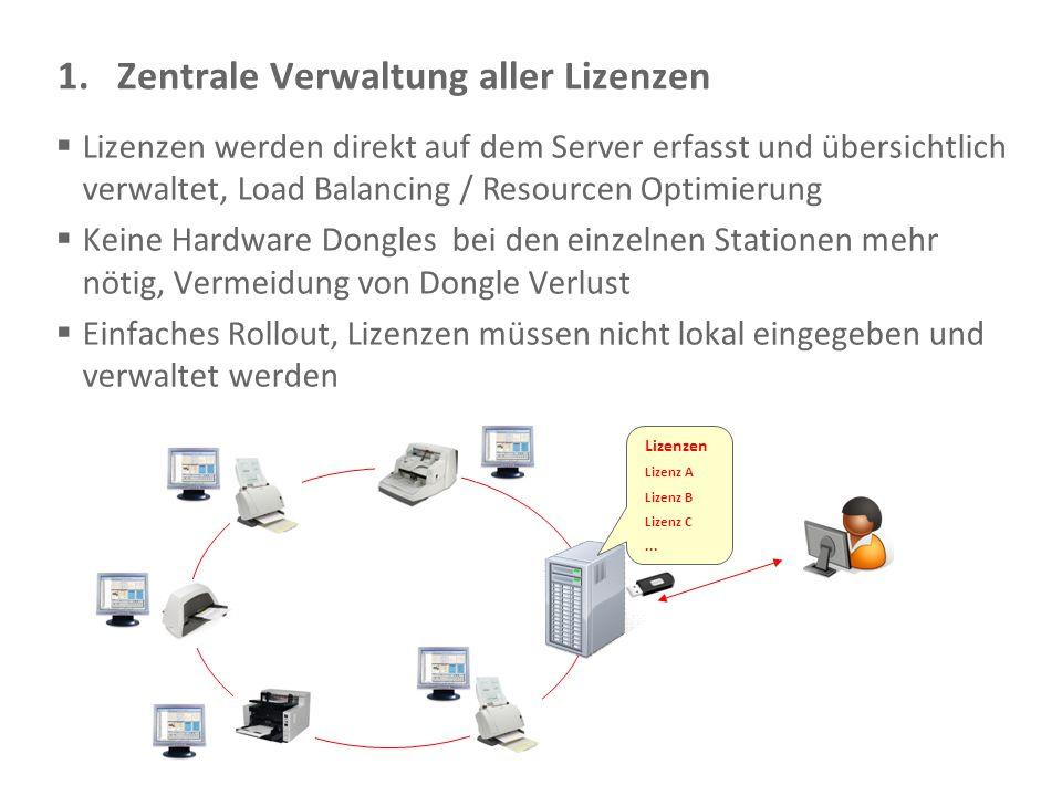 Document Imaging 21 1.Zentrale Verwaltung aller Lizenzen  Lizenzen werden direkt auf dem Server erfasst und übersichtlich verwaltet, Load Balancing /