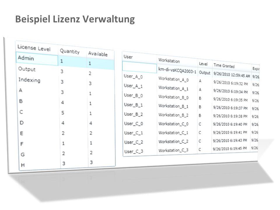 Document Imaging 22 Beispiel Lizenz Verwaltung