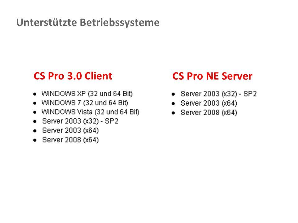 Document Imaging 35 Unterstützte Betriebssysteme CS Pro NE Server CS Pro 3.0 Client