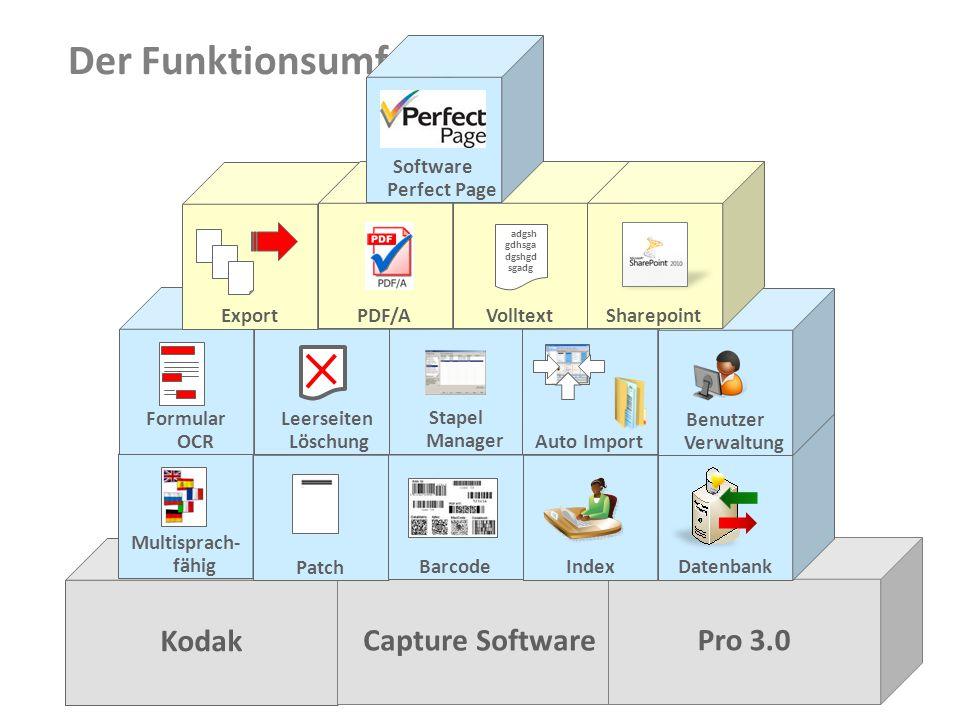 Document Imaging 5 Kodak Capture Software Pro 3.0 Multisprach- fähigPatchBarcodeIndex Datenbank Formular OCR Leerseiten Löschung Export Stapel Manager