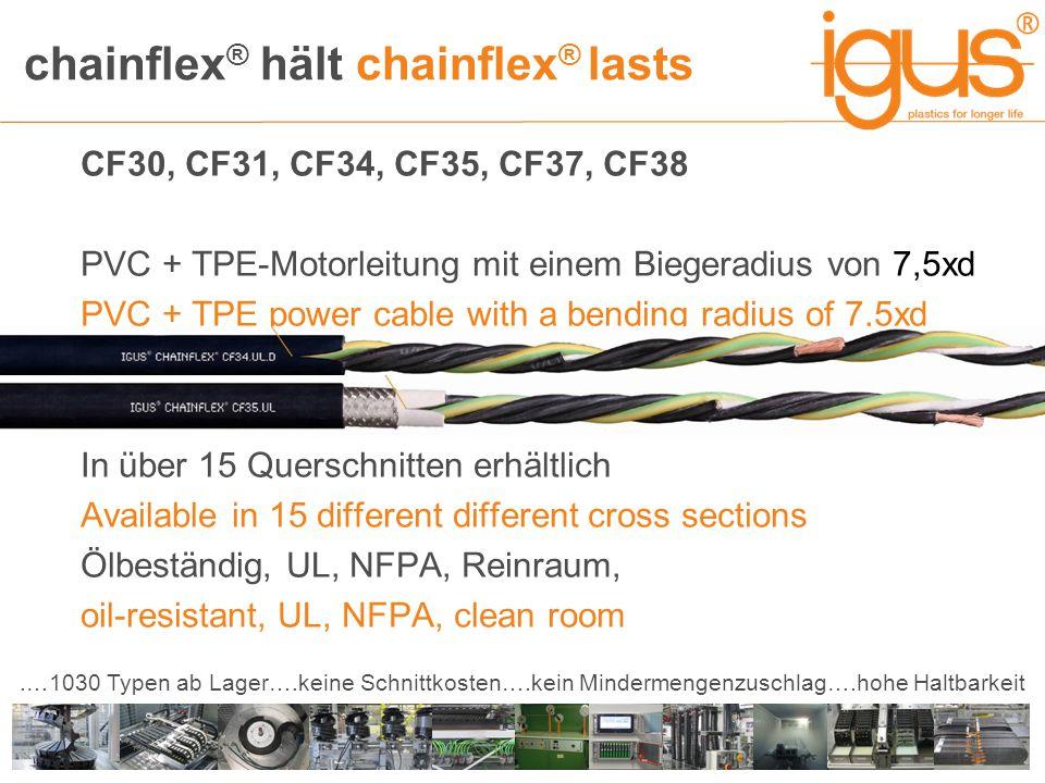 chainflex ® hält chainflex ® lasts.…1030 Typen ab Lager….keine Schnittkosten….kein Mindermengenzuschlag….hohe Haltbarkeit CF30, CF31, CF34, CF35, CF37, CF38 PVC + TPE-Motorleitung mit einem Biegeradius von 7,5xd PVC + TPE power cable with a bending radius of 7,5xd In über 15 Querschnitten erhältlich Available in 15 different different cross sections Ölbeständig, UL, NFPA, Reinraum, oil-resistant, UL, NFPA, clean room
