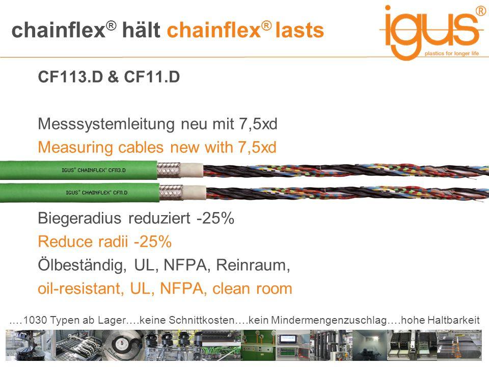 chainflex ® hält chainflex ® lasts.…1030 Typen ab Lager….keine Schnittkosten….kein Mindermengenzuschlag….hohe Haltbarkeit CF113.D & CF11.D Messsystemleitung neu mit 7,5xd Measuring cables new with 7,5xd Biegeradius reduziert -25% Reduce radii -25% Ölbeständig, UL, NFPA, Reinraum, oil-resistant, UL, NFPA, clean room