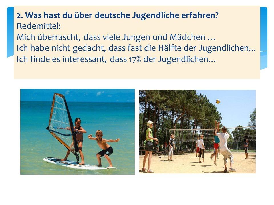 2.Was hast du über deutsche Jugendliche erfahren.