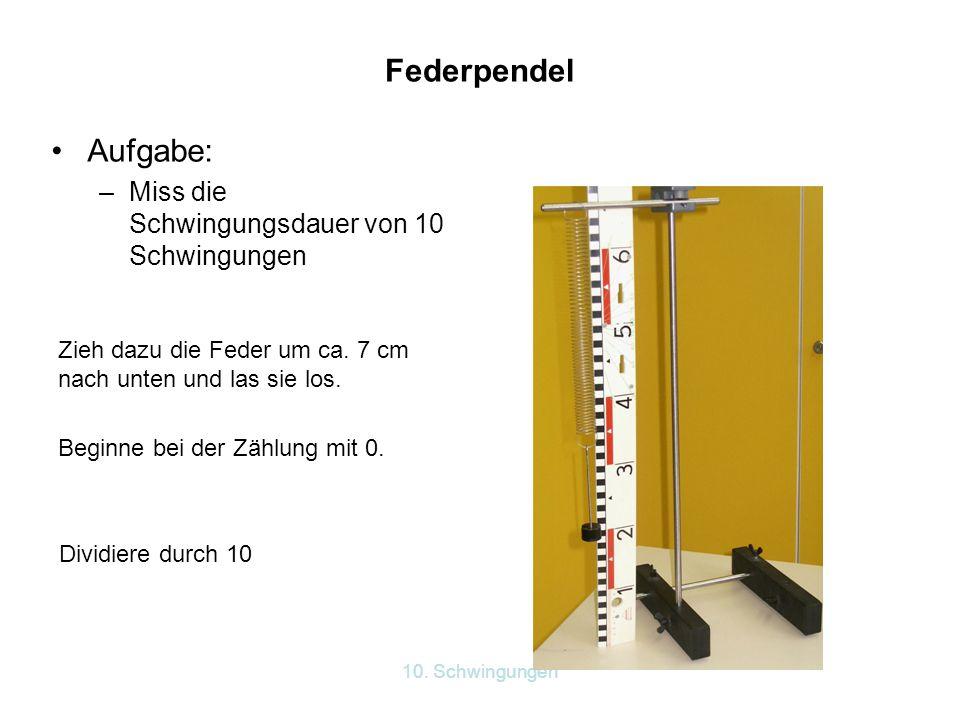 10. Schwingungen Federpendel Aufgabe: –Miss die Schwingungsdauer von 10 Schwingungen Zieh dazu die Feder um ca. 7 cm nach unten und las sie los. Begin
