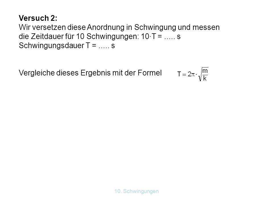 10. Schwingungen Versuch 2: Wir versetzen diese Anordnung in Schwingung und messen die Zeitdauer für 10 Schwingungen: 10·T =..... s Schwingungsdauer T