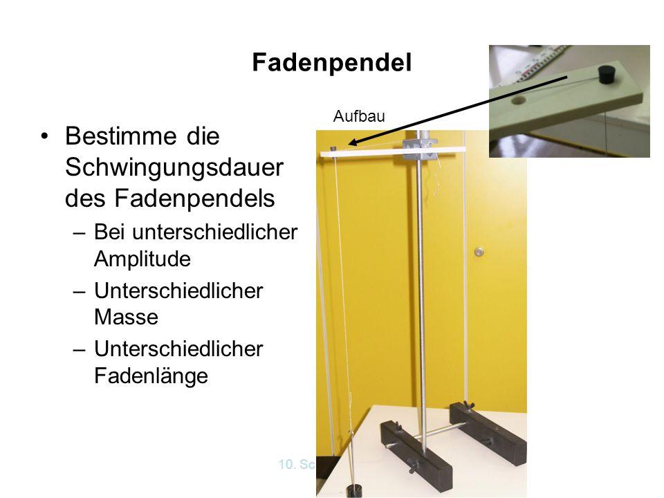 10. Schwingungen Fadenpendel Bestimme die Schwingungsdauer des Fadenpendels –Bei unterschiedlicher Amplitude –Unterschiedlicher Masse –Unterschiedlich