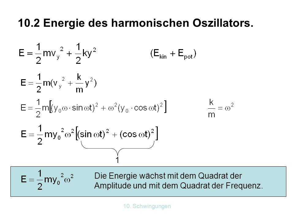 10. Schwingungen 10.2 Energie des harmonischen Oszillators. 1 Die Energie wächst mit dem Quadrat der Amplitude und mit dem Quadrat der Frequenz.