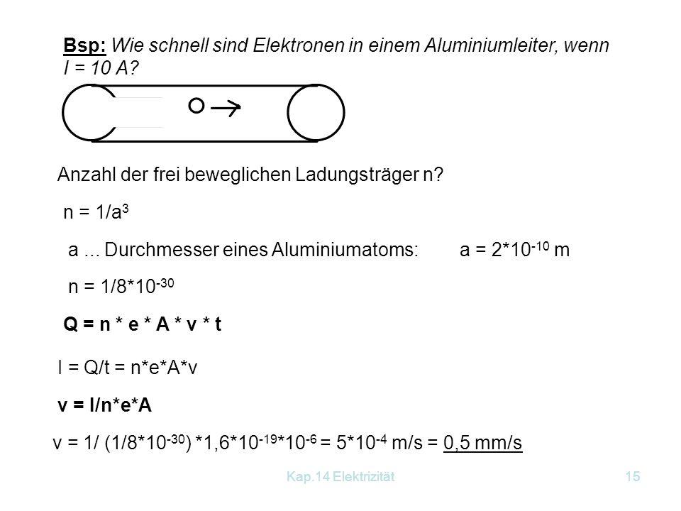 Kap.14 Elektrizität14 14.2 Stromarbeit - Stromleistung Ausgangspunkt: Definition der Spannung, Arbeit für das Verschieben der Gesamtladung Arbeit: W =
