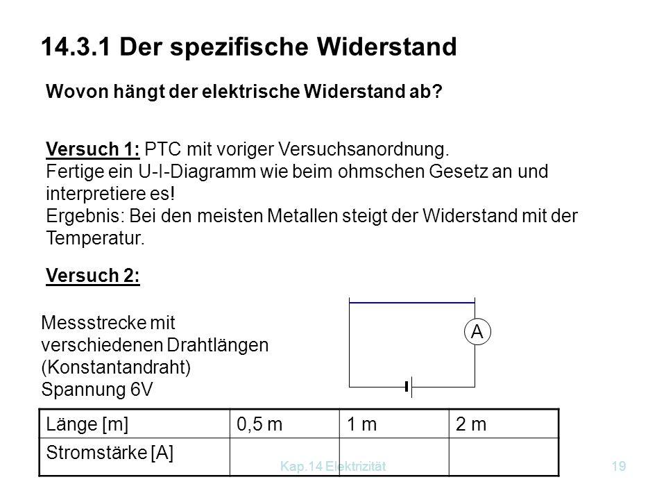 Kap.14 Elektrizität18 Ohmsches Gesetz Andere Formulierungen für das Ohmsche Gesetz: U = I∙R