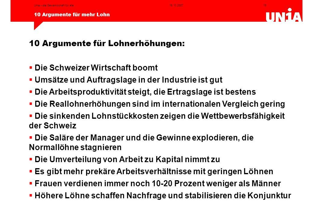 18 10 Argumente für mehr Lohn 16.10.2007Unia – die Gewerkschaft für alle 10 Argumente für Lohnerhöhungen:  Die Schweizer Wirtschaft boomt  Umsätze u