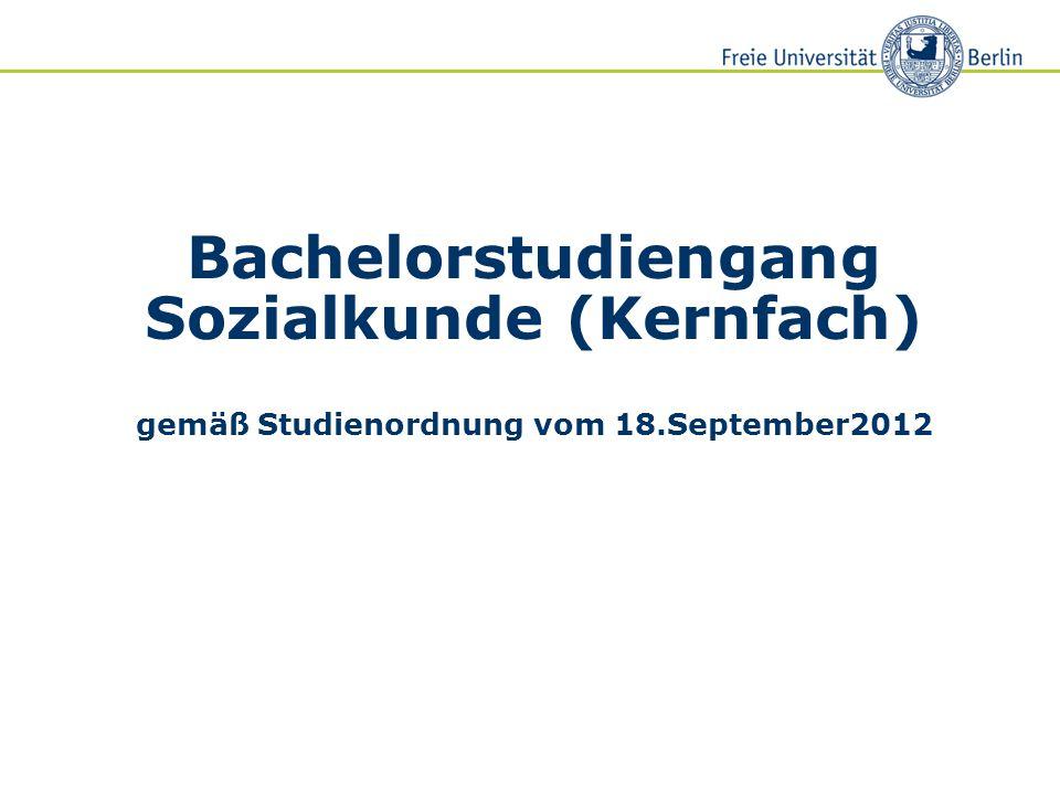 Bachelorstudiengang Sozialkunde (Kernfach) gemäß Studienordnung vom 18.September2012