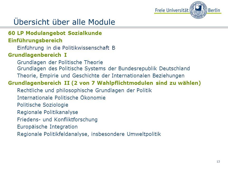 13 Übersicht über alle Module 60 LP Modulangebot Sozialkunde Einführungsbereich Einführung in die Politikwissenschaft B Grundlagenbereich I Grundlagen