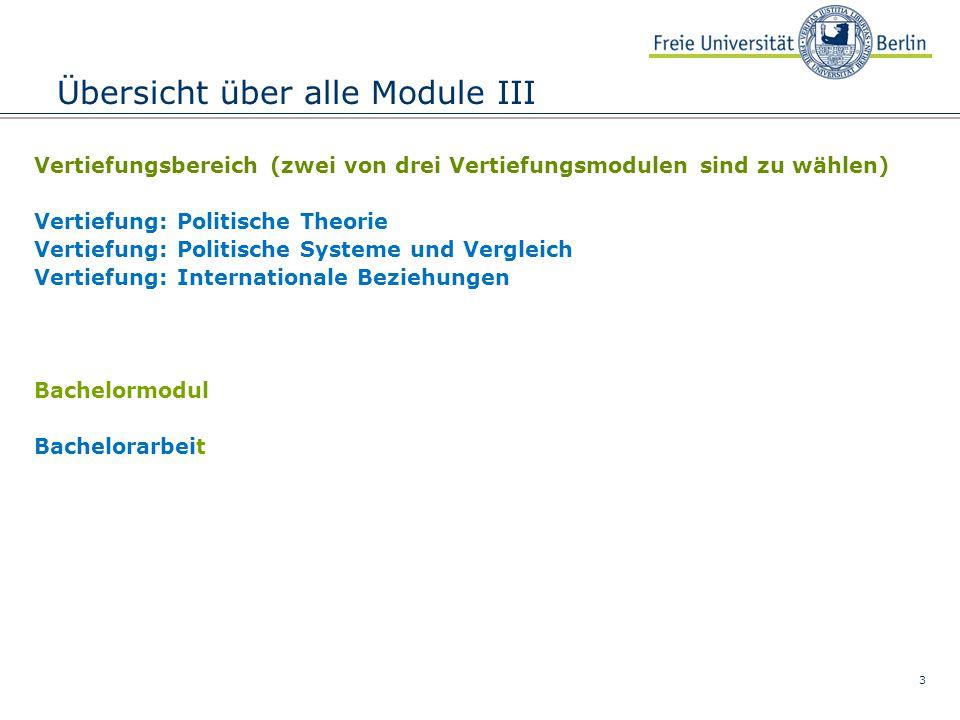 3 Übersicht über alle Module III Vertiefungsbereich (zwei von drei Vertiefungsmodulen sind zu wählen) Vertiefung: Politische Theorie Vertiefung: Polit
