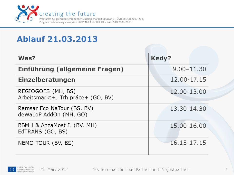 21. März 201310. Seminar für Lead Partner und Projektpartner 4 Ablauf 21.03.2013 Was Kedy.