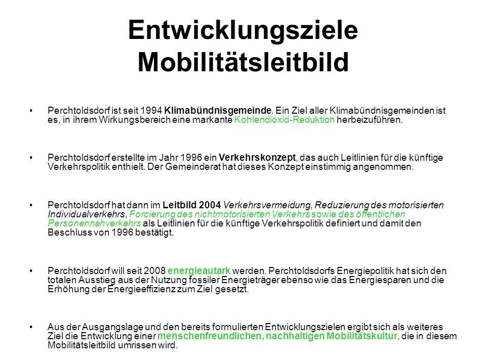 Entwicklungsziele Mobilitätsleitbild Perchtoldsdorf ist seit 1994 Klimabündnisgemeinde. Ein Ziel aller Klimabündnisgemeinden ist es, in ihrem Wirkungs
