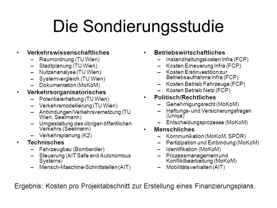 Die Sondierungsstudie Verkehrswissenschaftliches –Raumordnung (TU Wien) –Stadtplanung (TU Wien) –Nutzenanalyse (TU Wien) –Systemvergleich (TU Wien) –D